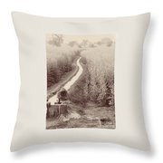 Woman Doing Laundry In Canal- Sepia Throw Pillow