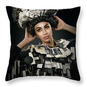 Woman Dressed In Price Tag Throw Pillow