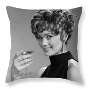 Woman Drinking Champagne, C.1960s Throw Pillow