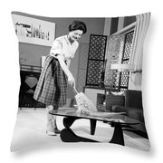 Woman Dusting, C.1950-60s Throw Pillow