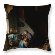 Woman Eating Porridge Throw Pillow