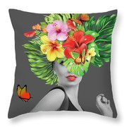 Woman Floral  Throw Pillow