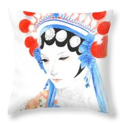 Woman From Chinese Opera With Tattoos -- The Original -- Asian Woman Portrait Throw Pillow