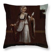 Woman From The Island Of Patmos Throw Pillow