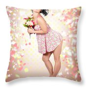 Woman Holding Flowers In Hands. Spring Celebration Throw Pillow