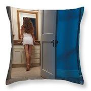 Woman In A Bathroom Throw Pillow