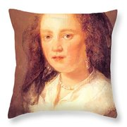 Woman In A Black Veil Throw Pillow