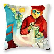 Woman In A Cafe Throw Pillow