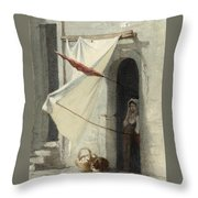Woman In A Doorway. Rome Throw Pillow