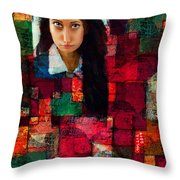 Woman In Abstract 454 Throw Pillow