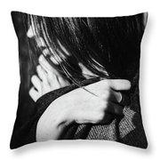 Woman In Alpaca Throw Pillow