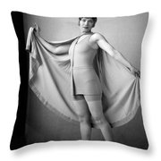 Woman In Bathing Suit And Cape, C.1920s Throw Pillow