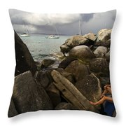 Woman In Bathing Suit Sitting Throw Pillow