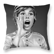 Woman In Bell Hop Outfit Calling Out Throw Pillow