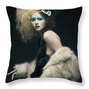 Woman In Black Avant-garde Attire With Butterfly Headdress Throw Pillow