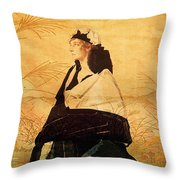 Woman In Black Throw Pillow