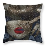 Woman In Blue Red Passion Throw Pillow