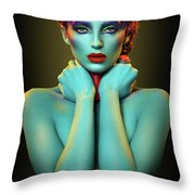 Woman In Cyan Body Paint With Curly Hairstyle Throw Pillow