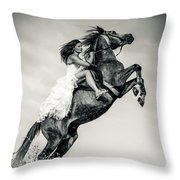 Woman In Dress Riding Chestnut Black Rearing Stallion Throw Pillow