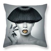 Woman In Fashionable Bangs Throw Pillow