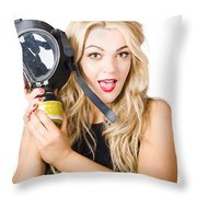 Woman In Fear Holding Gas Mask On White Background Throw Pillow by Jorgo Photography - Wall Art Gallery