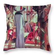 Woman In Front Of A Large Illuminated Window Throw Pillow
