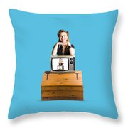 Woman  In Front Of Tv Camera Throw Pillow by Jorgo Photography - Wall Art Gallery
