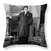 Woman In Fur Coat, C.1940s Throw Pillow