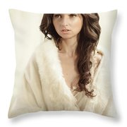 Woman In Fur Wrap Wearing Crown Throw Pillow