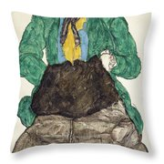 Woman In Green Blouse With Muff Throw Pillow
