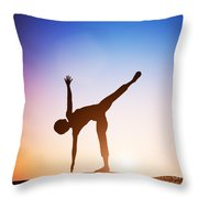 Woman In Half Moon Yoga Pose Meditating At Sunset Throw Pillow