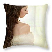 Woman In Her Bedroom Throw Pillow