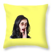 Woman In Horror Makeup Throw Pillow