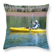 Woman In Kayak Throw Pillow