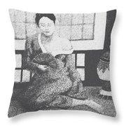 Woman In Kimono Throw Pillow by Don Perino