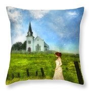 Woman In Lace By A Country Church Throw Pillow
