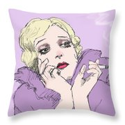 Woman In Lavender Throw Pillow