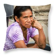 Woman In Market Throw Pillow by Allen Sheffield