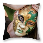 Woman In Mask Throw Pillow