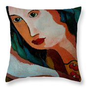 Woman In Orange And Blue Throw Pillow