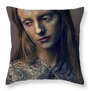 Woman In Painterly Look Throw Pillow