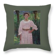 Woman In Pink Dress Throw Pillow