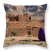 Woman In Purple Throw Pillow