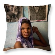 Woman In Purple Havana Cuba Throw Pillow