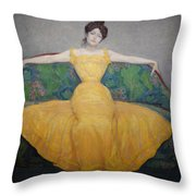 Woman In A Yellow Dress Throw Pillow