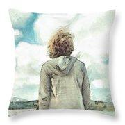 Woman In Rustico Harbor Prince Edward Island Throw Pillow