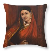 Woman In Saree - After Raja Ravi Varma Throw Pillow