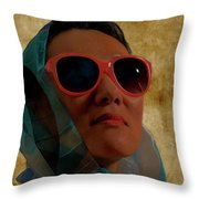 Woman In Scarf And Sunglasses Throw Pillow
