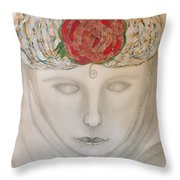 Woman In Scarf Throw Pillow