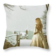 Woman In Snow Scene Throw Pillow